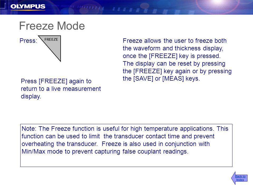 2017/3/25 Freeze Mode. Press: FREEZE.