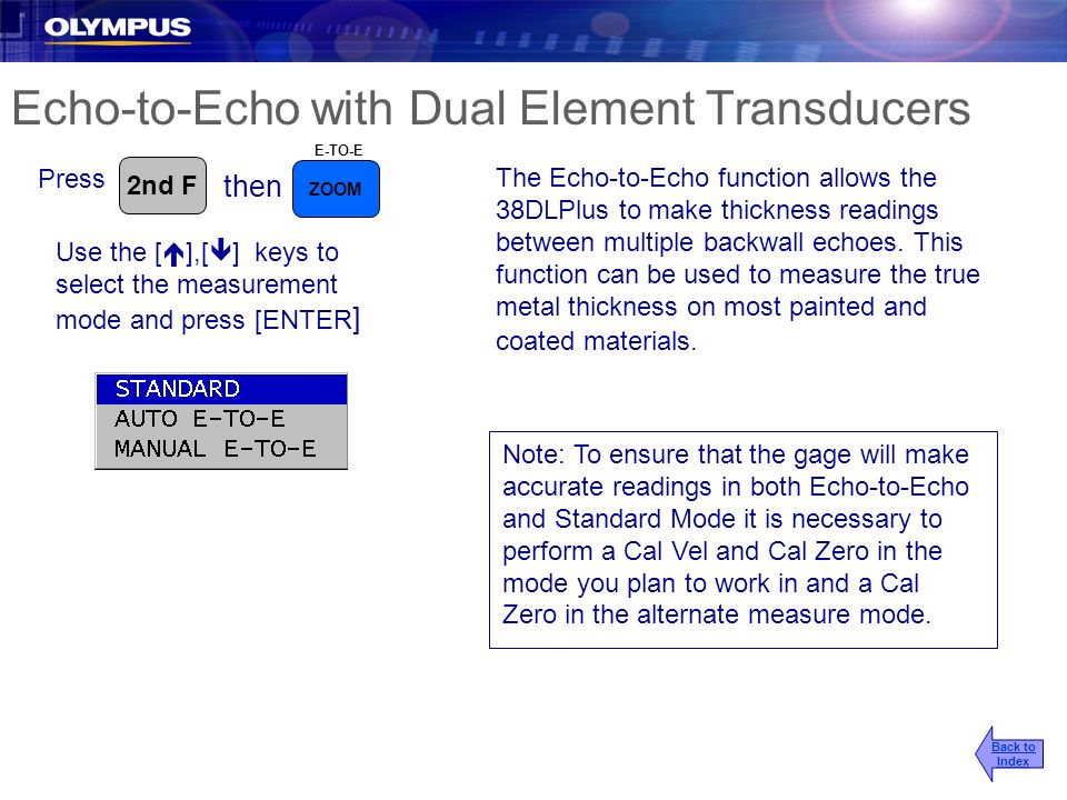 Echo-to-Echo with Dual Element Transducers