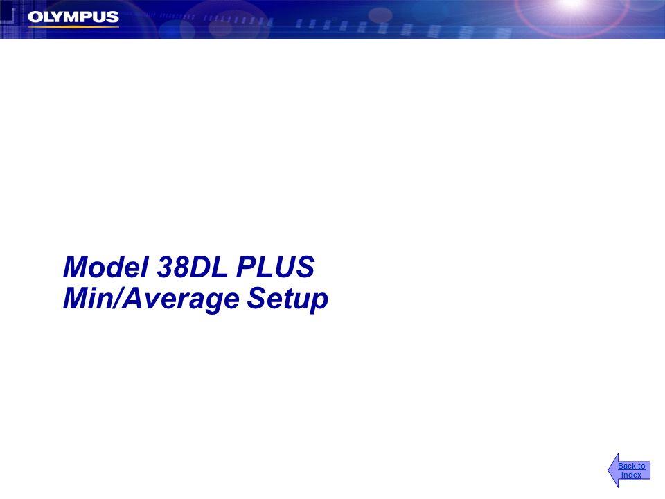 Model 38DL PLUS Min/Average Setup