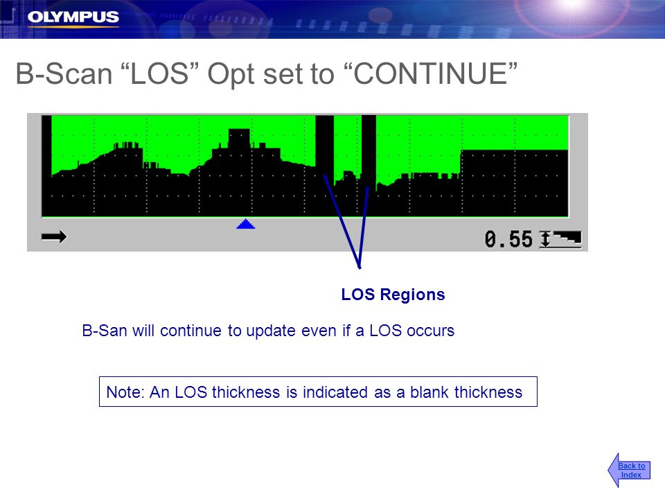 B-Scan LOS Opt set to CONTINUE