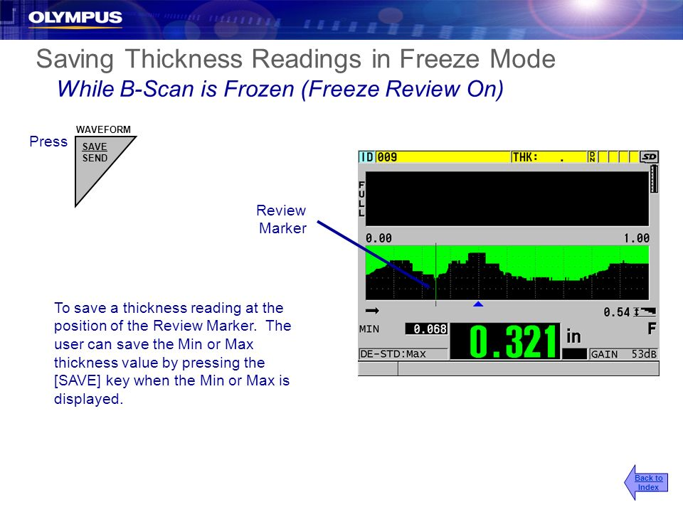 Saving Thickness Readings in Freeze Mode