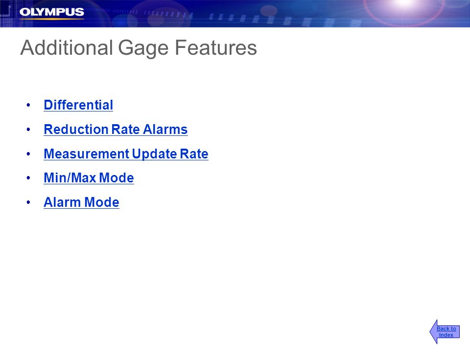 Additional Gage Features