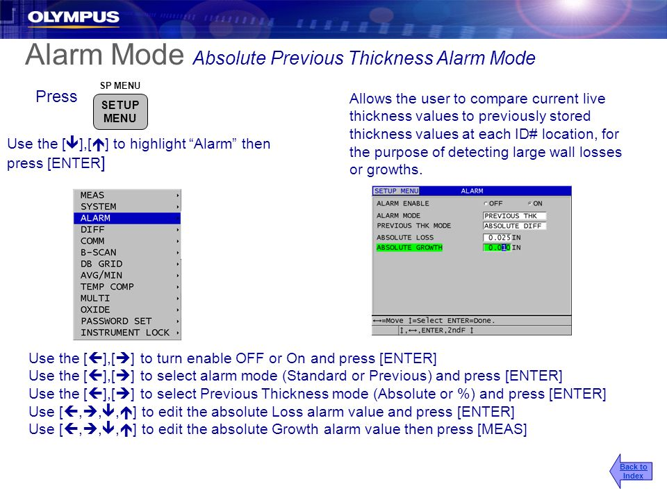 Alarm Mode Absolute Previous Thickness Alarm Mode