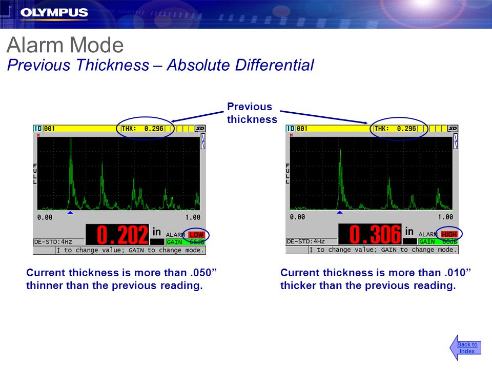 Alarm Mode Previous Thickness – Absolute Differential