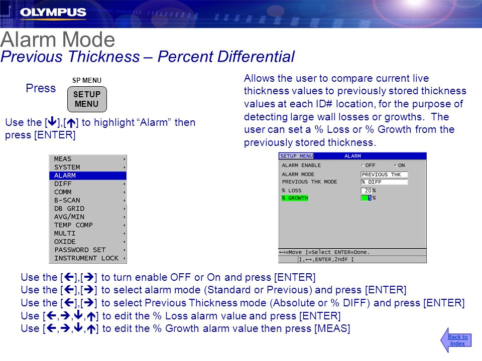 Alarm Mode Previous Thickness – Percent Differential Press