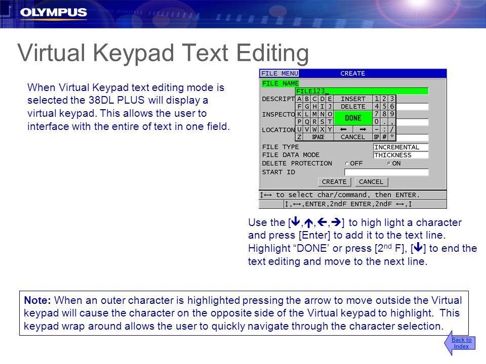 Virtual Keypad Text Editing