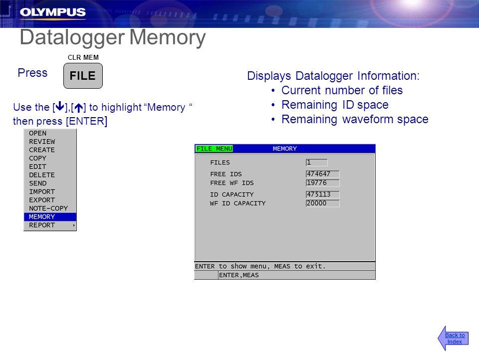 Datalogger Memory Press FILE Displays Datalogger Information: