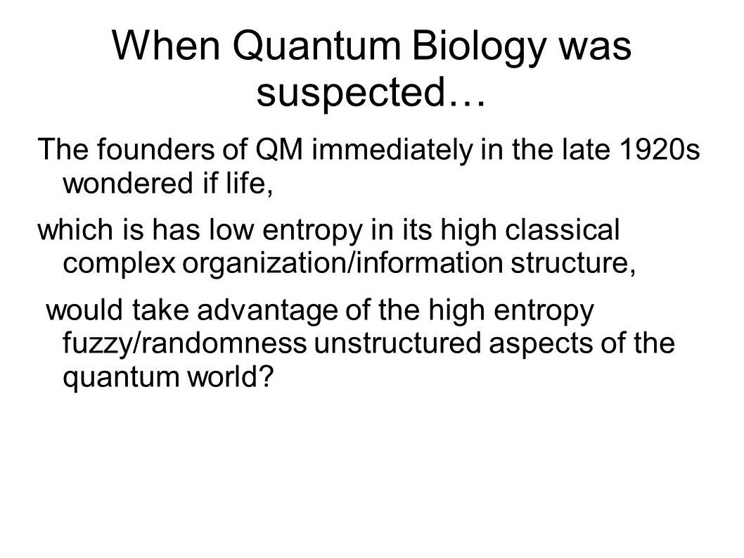 When Quantum Biology was suspected…