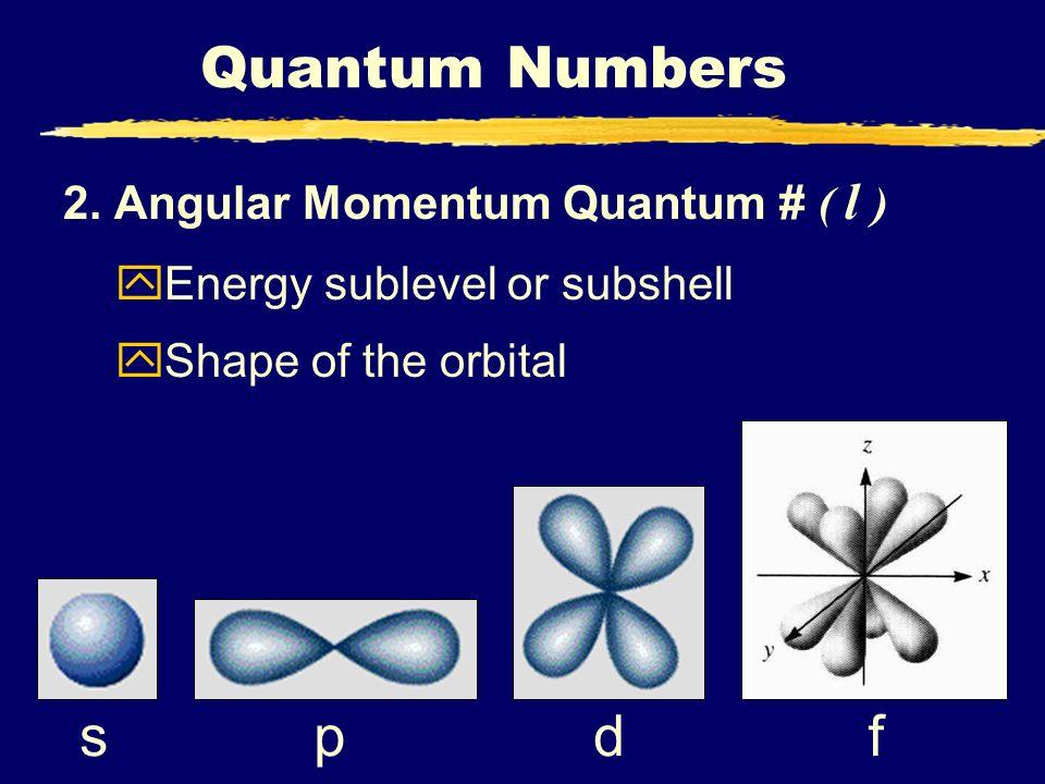 Quantum Numbers f d s p 2. Angular Momentum Quantum # ( l )