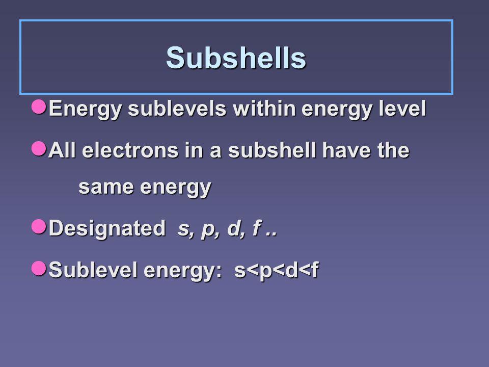 Subshells Energy sublevels within energy level