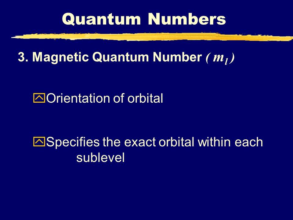 Quantum Numbers 3. Magnetic Quantum Number ( ml )