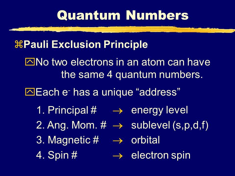 Quantum Numbers Pauli Exclusion Principle