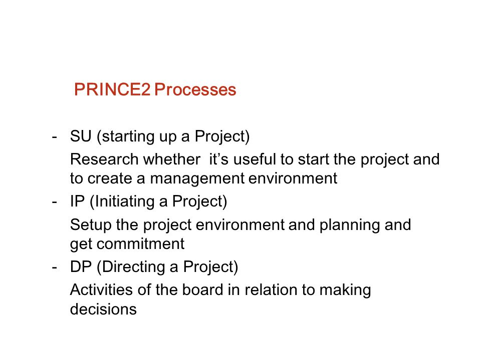 PRINCE2 Processes SU (starting up a Project)