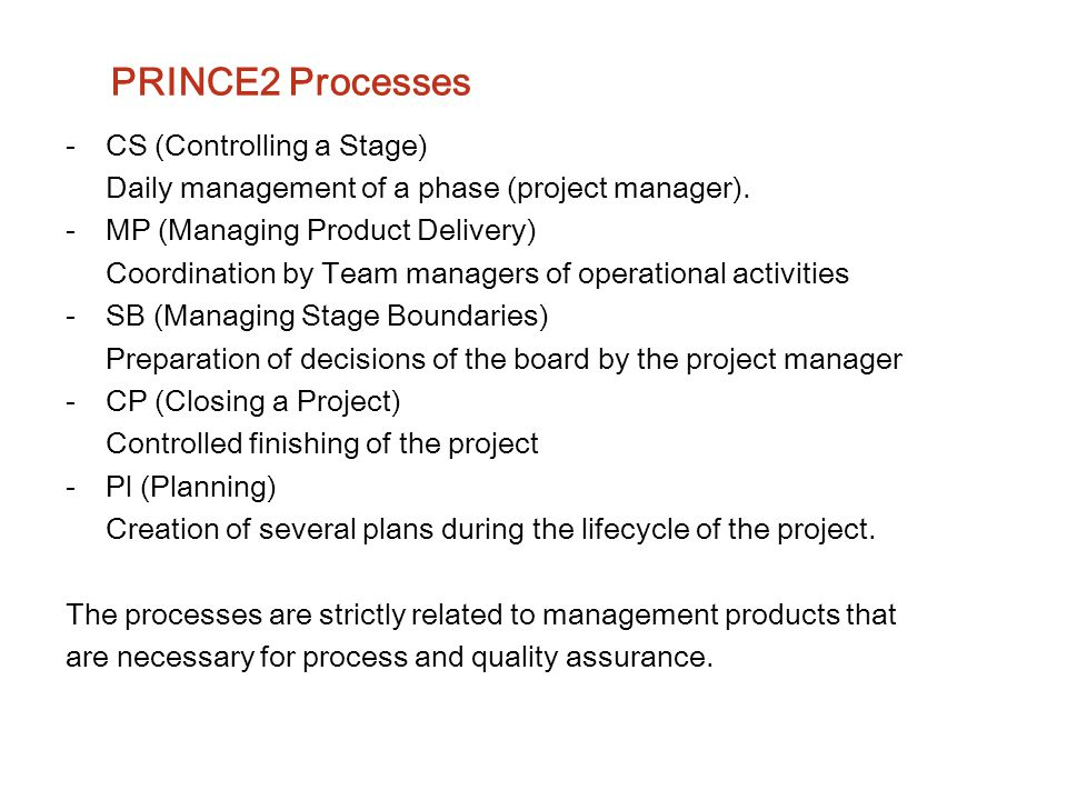 PRINCE2 Processes CS (Controlling a Stage)