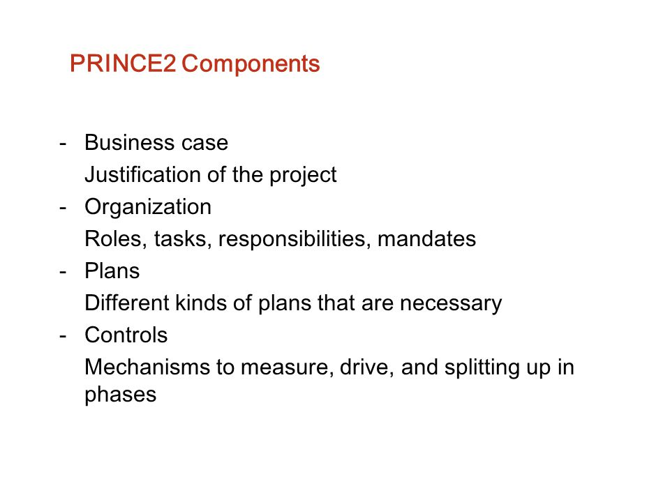 PRINCE2 Components Business case Justification of the project