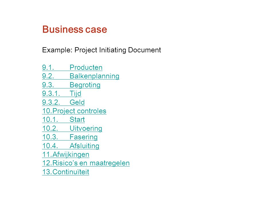 Business case Example: Project Initiating Document 9.1. Producten