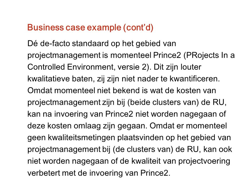 Business case example (cont'd)