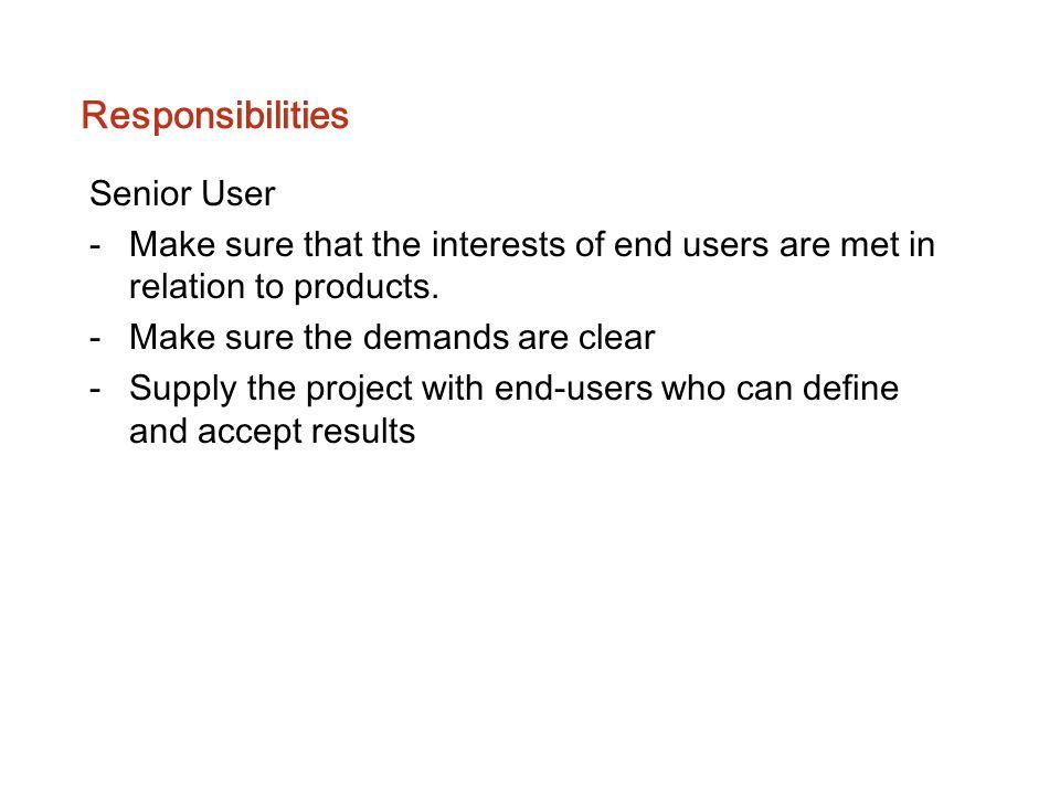 Responsibilities Senior User