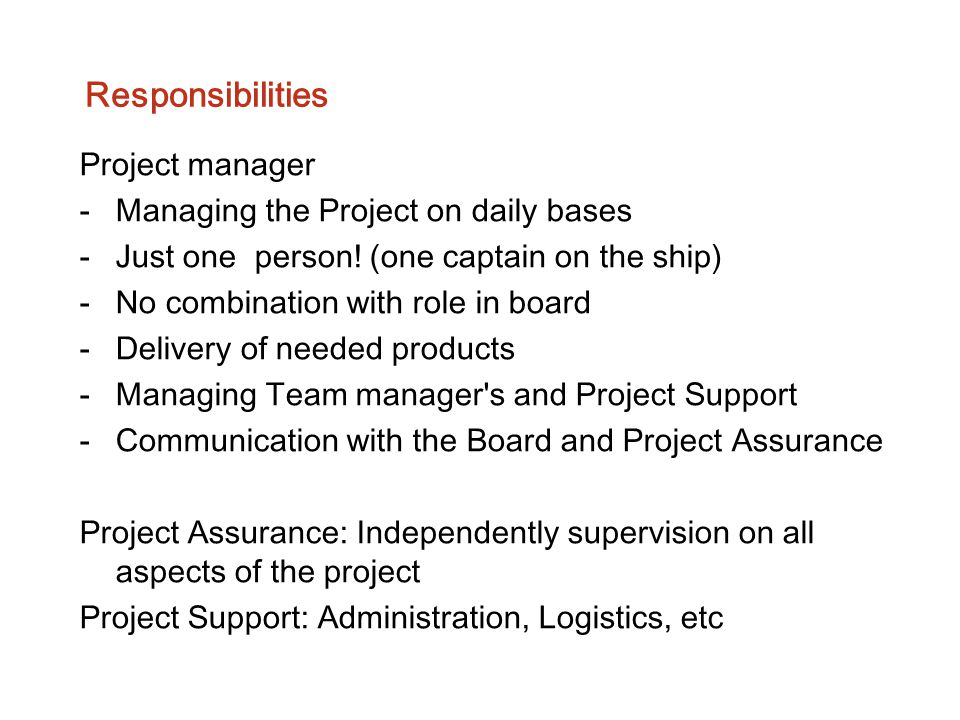Responsibilities Project manager Managing the Project on daily bases