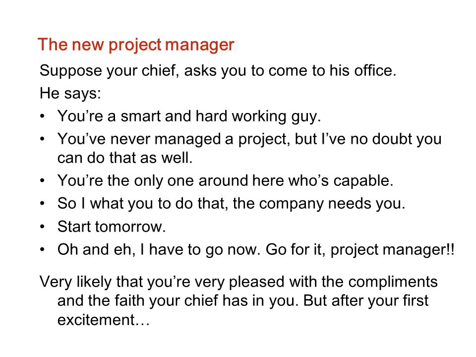 The new project manager