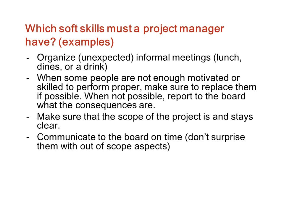 Which soft skills must a project manager have (examples)