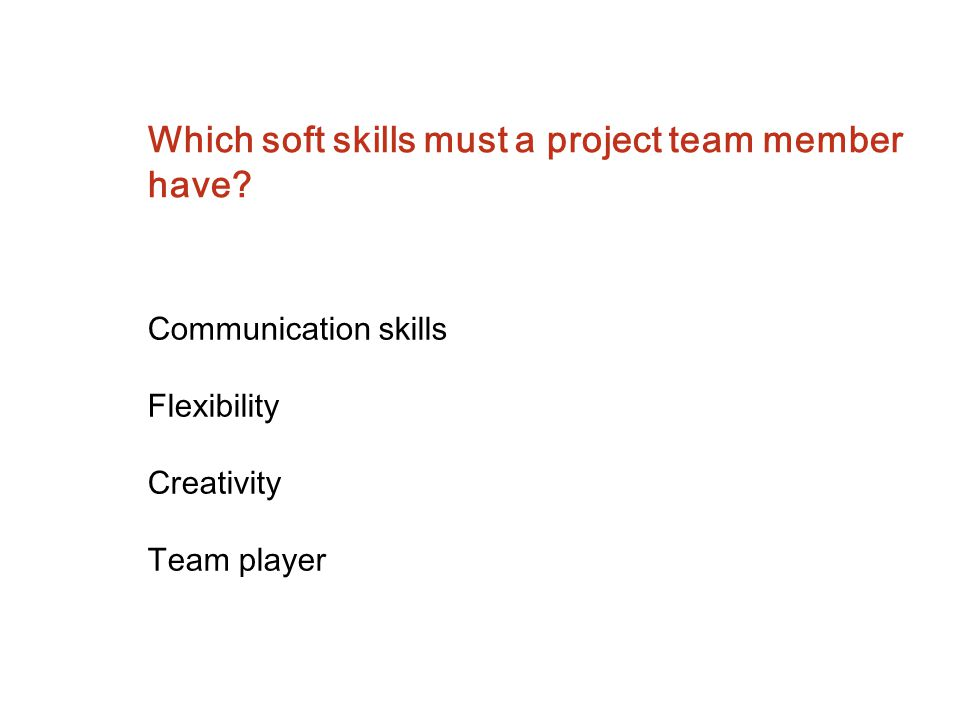 Which soft skills must a project team member have