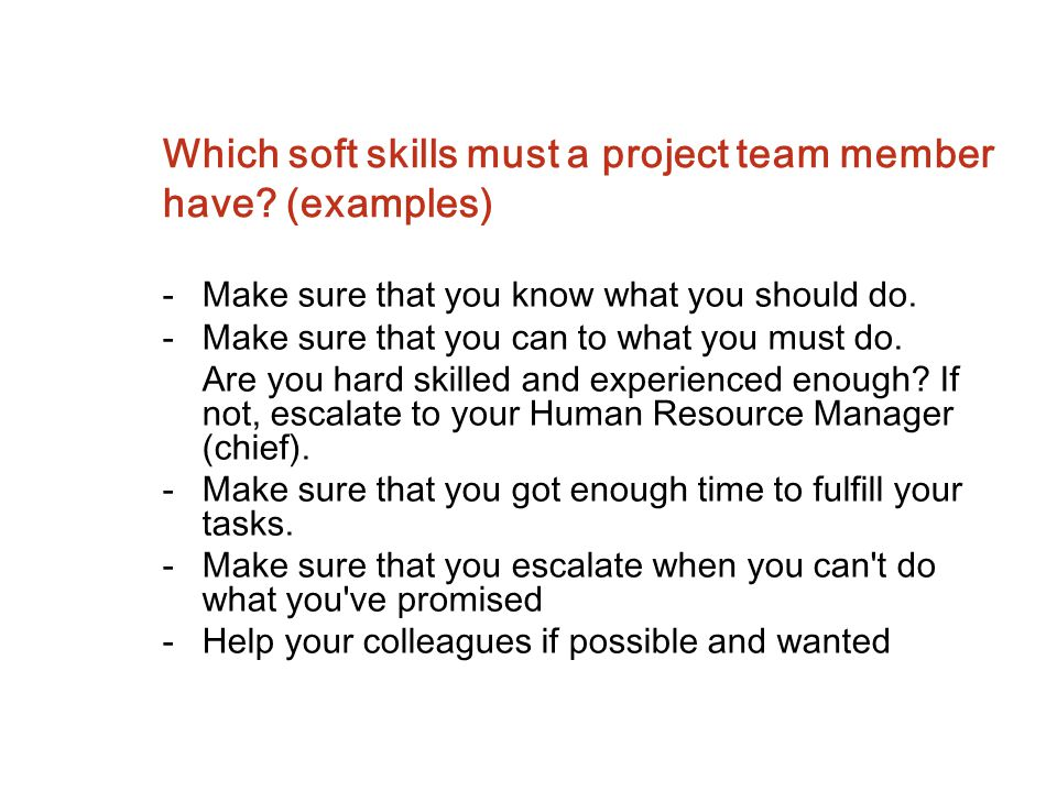 Which soft skills must a project team member have (examples)