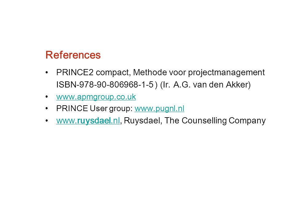 References PRINCE2 compact, Methode voor projectmanagement