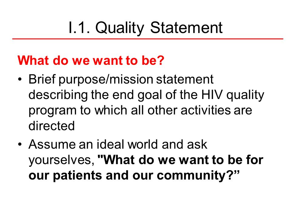 I.1. Quality Statement What do we want to be