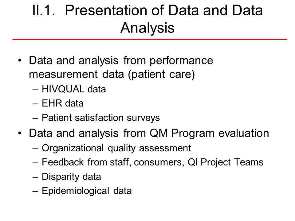 II.1. Presentation of Data and Data Analysis