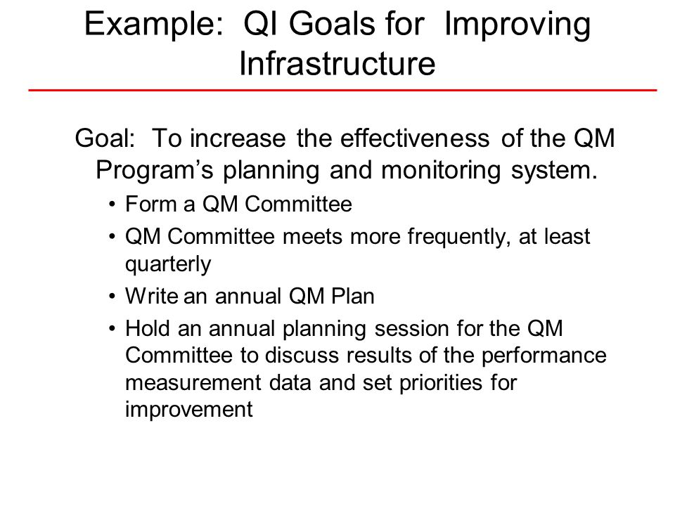 Example: QI Goals for Improving Infrastructure