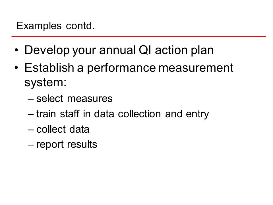 Develop your annual QI action plan