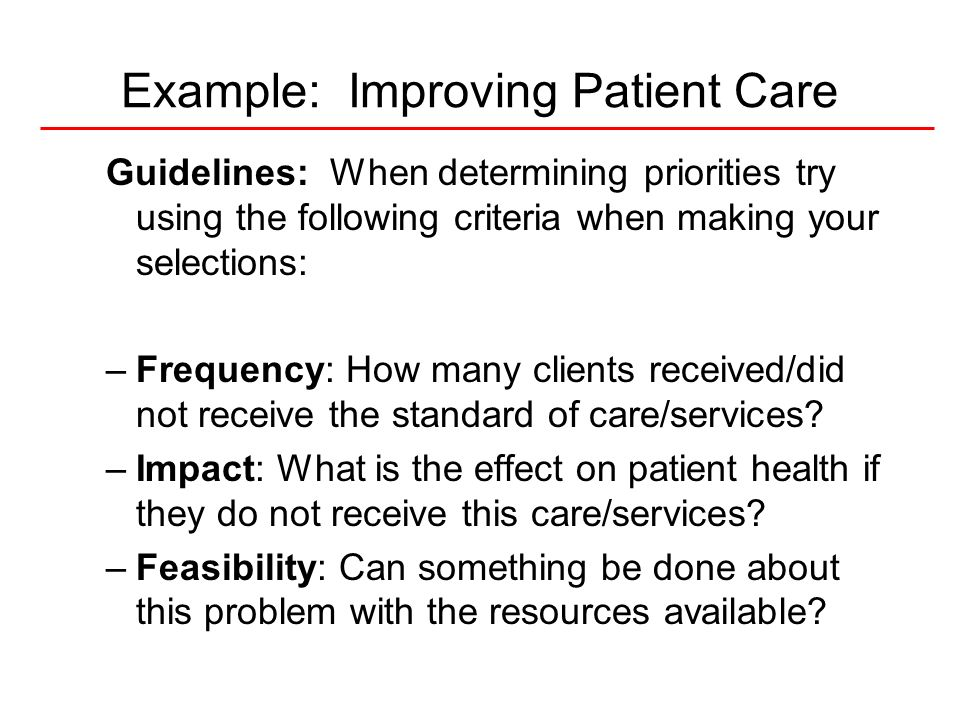 Example: Improving Patient Care