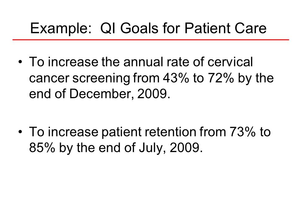 Example: QI Goals for Patient Care
