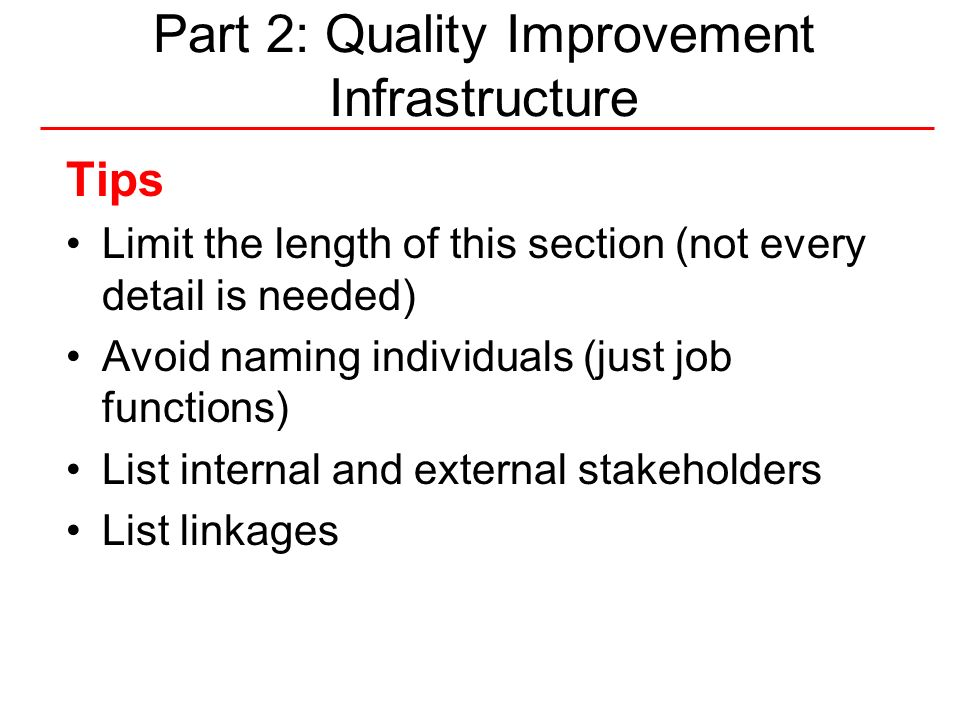 Part 2: Quality Improvement Infrastructure