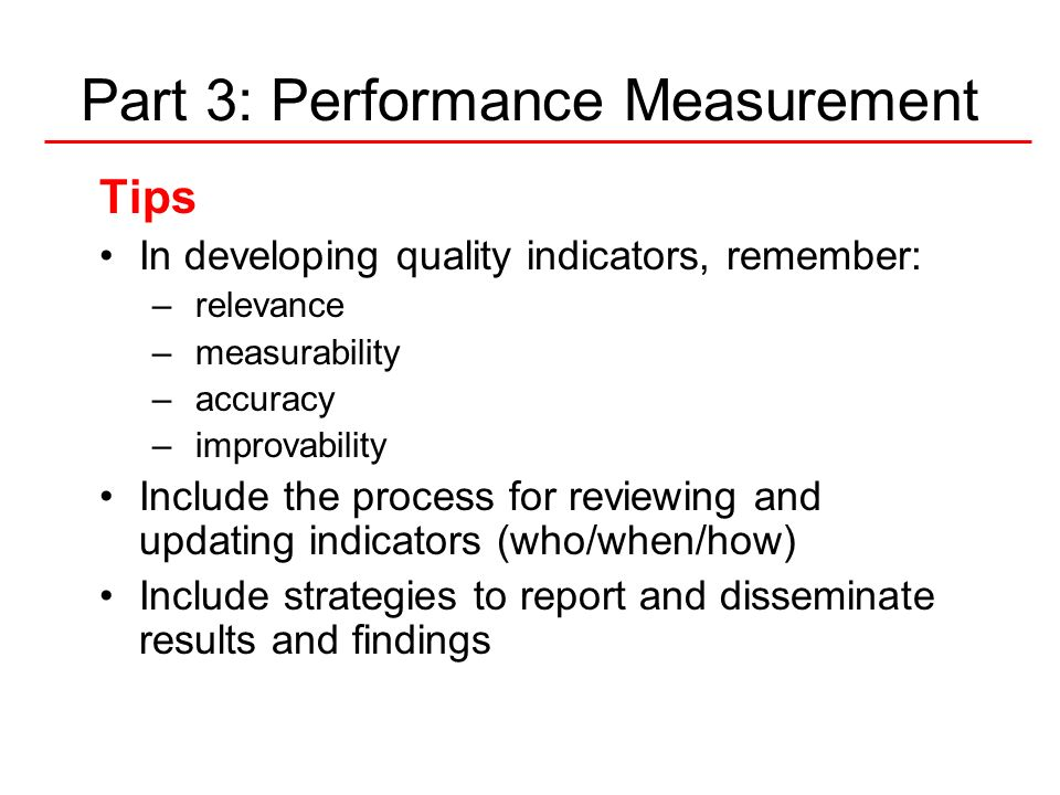 Part 3: Performance Measurement