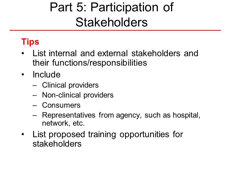 Part 5: Participation of Stakeholders