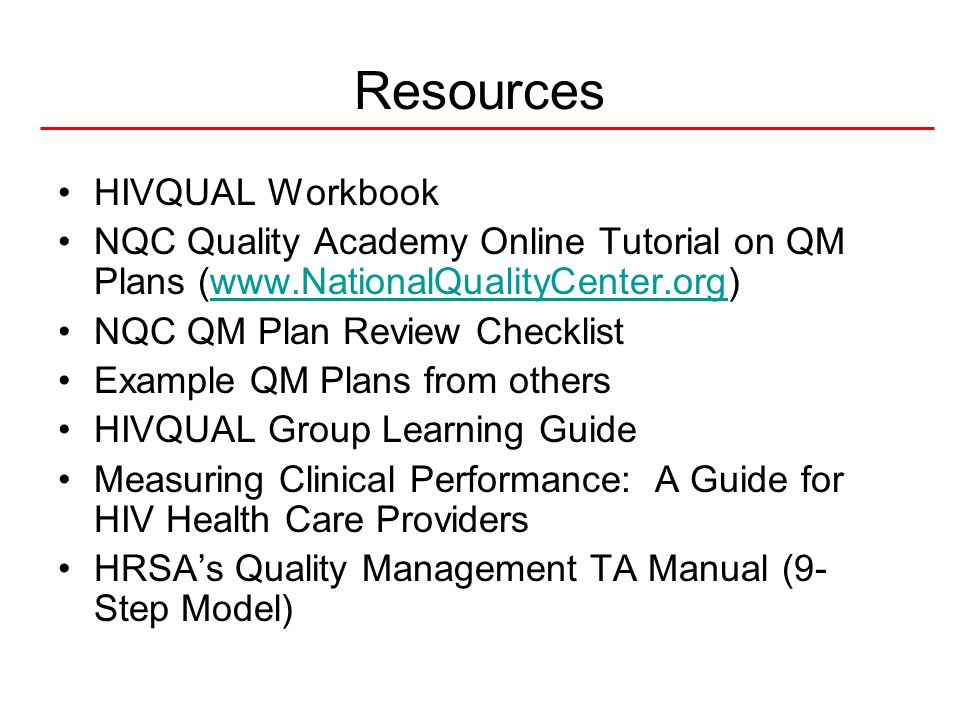 Resources HIVQUAL Workbook