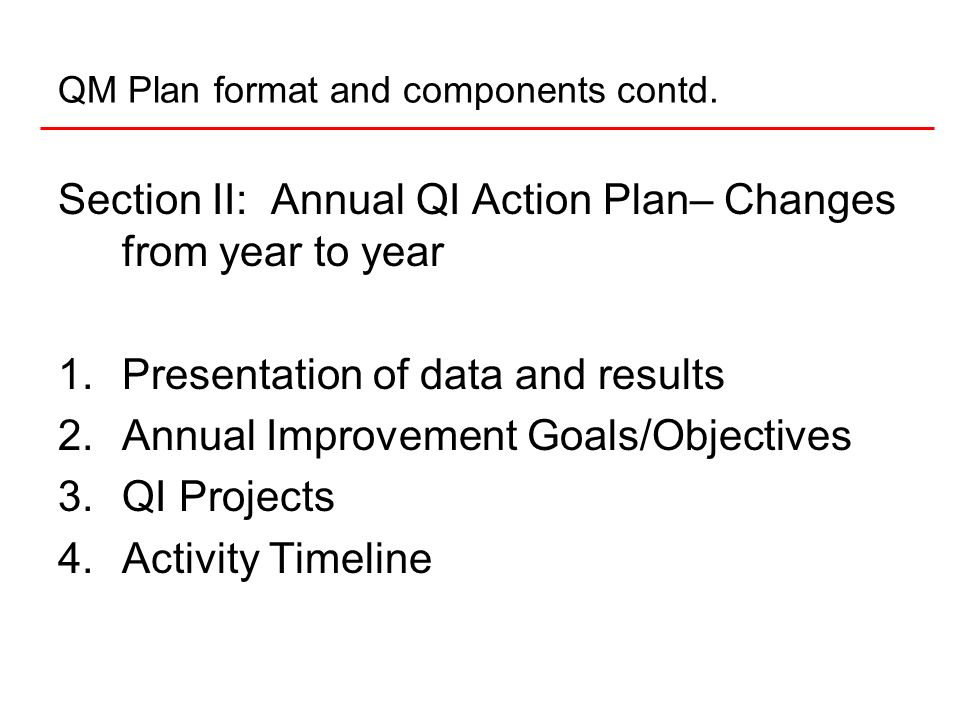 QM Plan format and components contd.