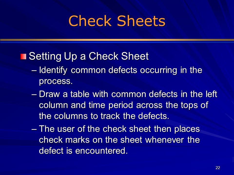 Check Sheets Setting Up a Check Sheet