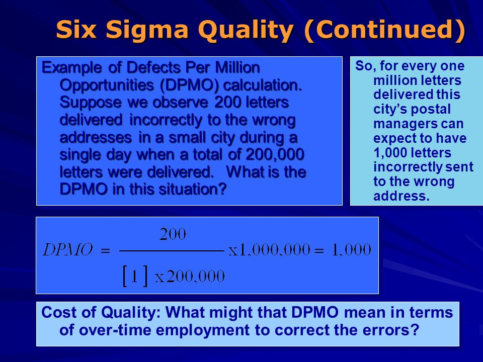 Six Sigma Quality (Continued)