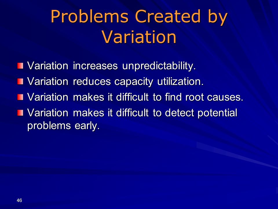 Problems Created by Variation