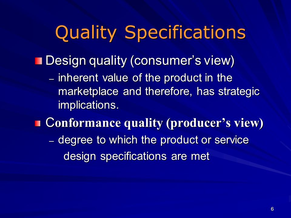 Quality Specifications