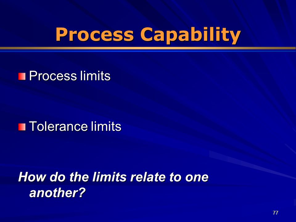 Process Capability Process limits Tolerance limits