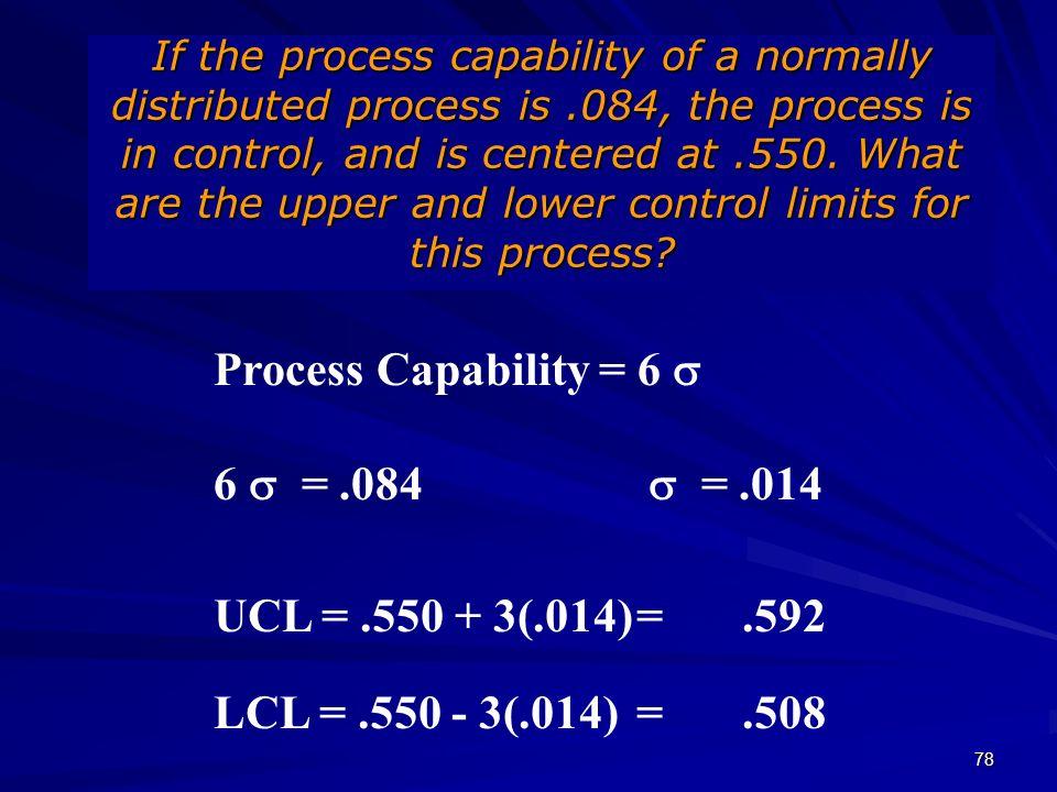 Process Capability = 6 s 6 s = .084 s = .014