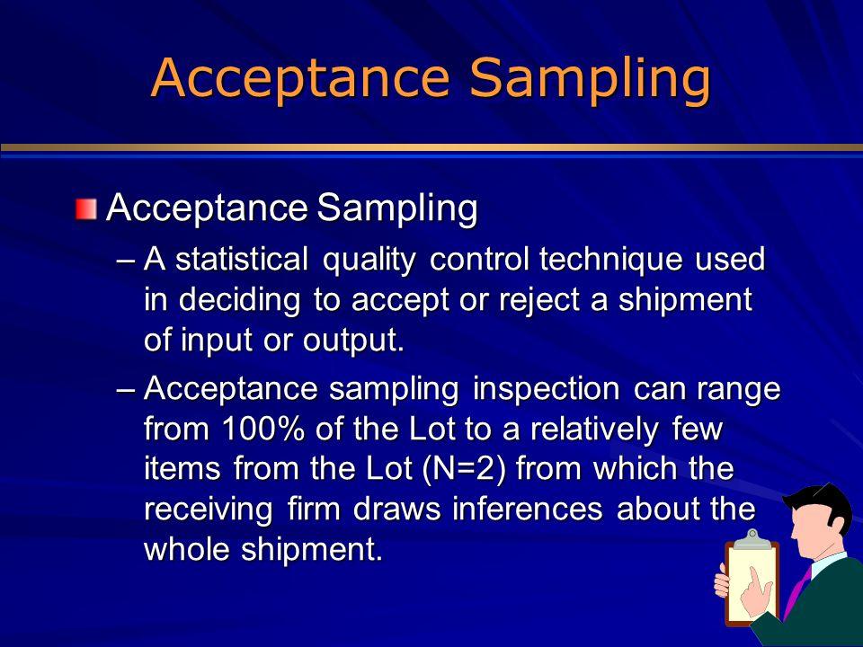 Acceptance Sampling Acceptance Sampling