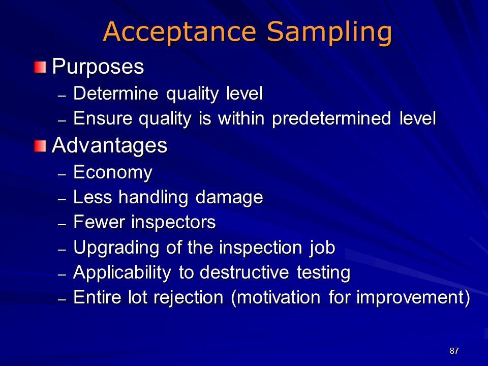 Acceptance Sampling Purposes Advantages Determine quality level