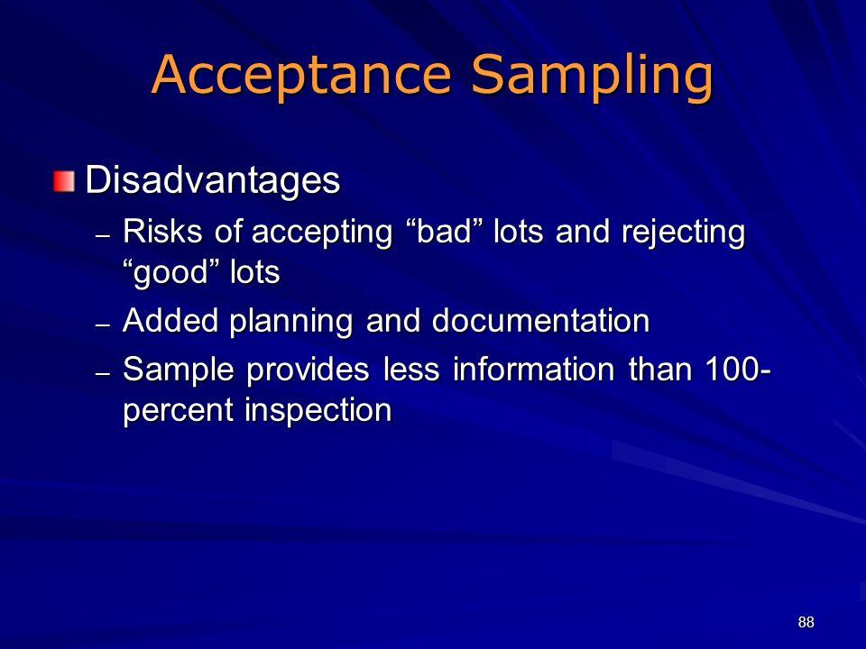 Acceptance Sampling Disadvantages