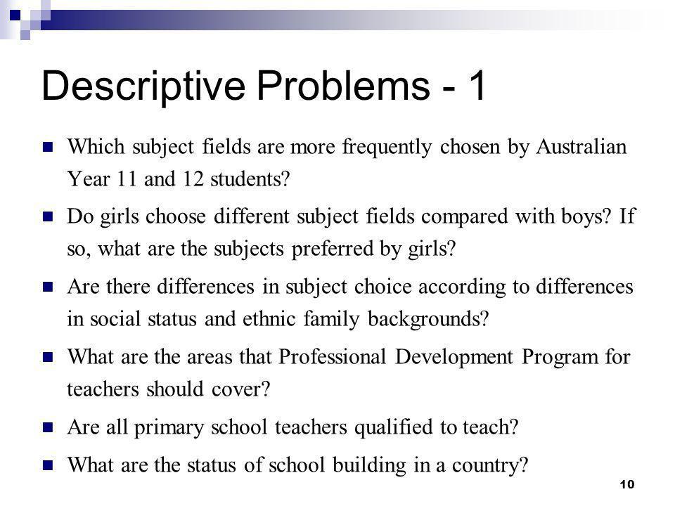 Descriptive Problems - 1