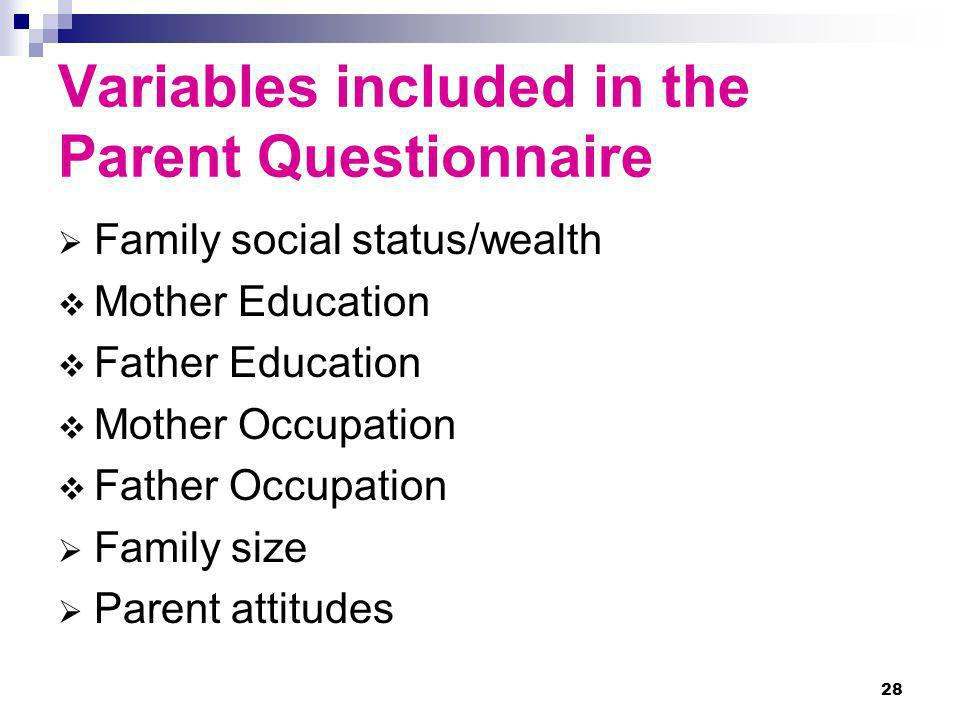 Variables included in the Parent Questionnaire